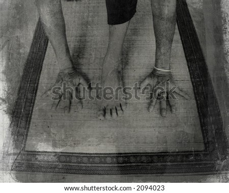 Grunge photo montage of woman's hands and leg in YOGA posture.