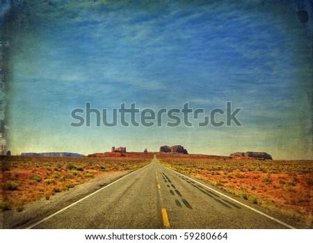 grunge photo monument valley in utah, interstate 163, usa - stock photo