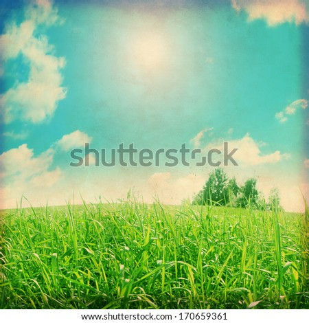 Grunge photo of green grass field and sun in blue sky. - stock photo