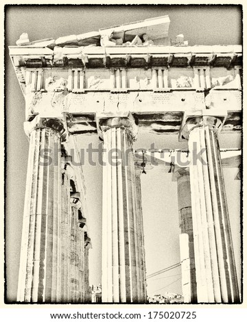 grunge photo of Parthenon temple with old film looking filter, Athens Greece