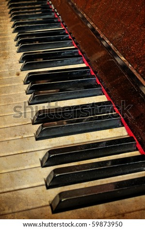Grunge piano musical background and added paper texture - stock photo