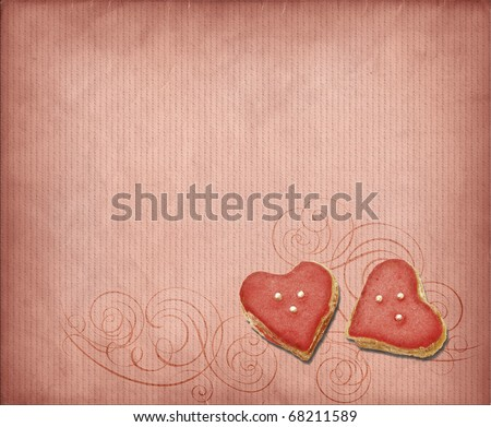 Grunge pink background with sweet hearts - stock photo