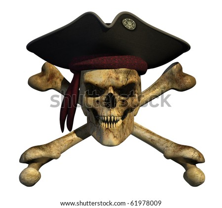 Grunge pirate skull with sharp pointed teeth and an evil grin. - stock photo