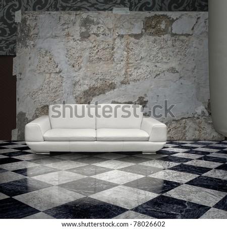 Grunge plaster wall white sofa checkered marble floor - stock photo