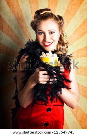 Grunge Portrait Of A Retro Woman Eating Popcorn Snack While At A Gala Movie Premiere Event - stock photo