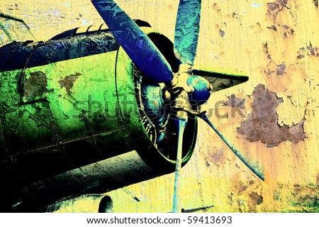 Grunge propeller - stock photo
