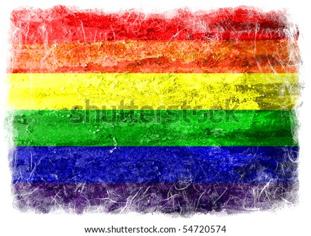 Grunge rainbow gay flag - stock photo