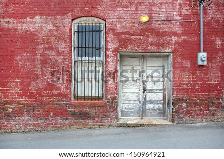 grunge red brick wall background - stock photo