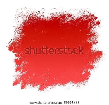 Grunge red paint  spatter background isolated on white