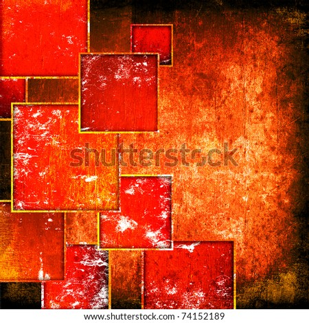 grunge red squares on a grunge background - stock photo