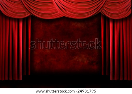 Grunge Red Stage Theater Drapes With Dramatic Lighting - stock photo
