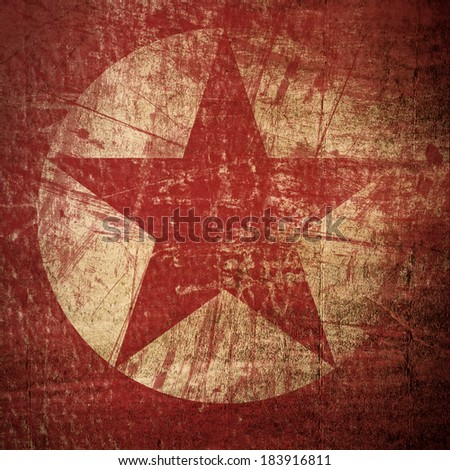 Grunge Red Star Background - stock photo