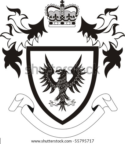 Grunge retro  coat of arms with black eagle - stock photo
