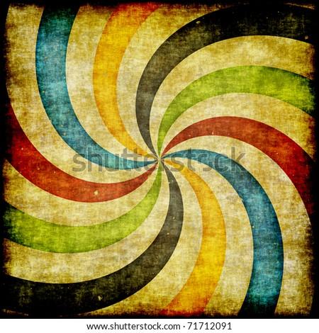 Grunge retro  illustration of  swirling stripes - stock photo
