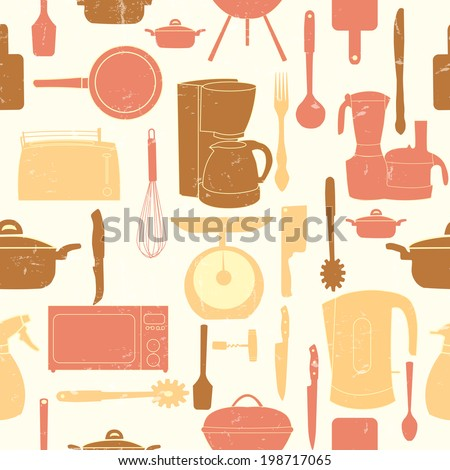 Grunge Retro  illustration seamless pattern of kitchen tools for cooking - stock photo