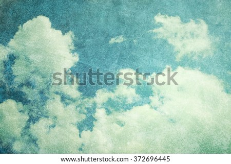grunge retro sky and cloud background - stock photo