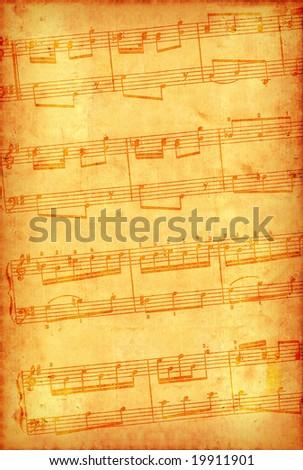 Grunge retro-styled musical background - stock photo
