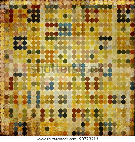grunge retro vintage paper background with colored circle pattern - stock photo