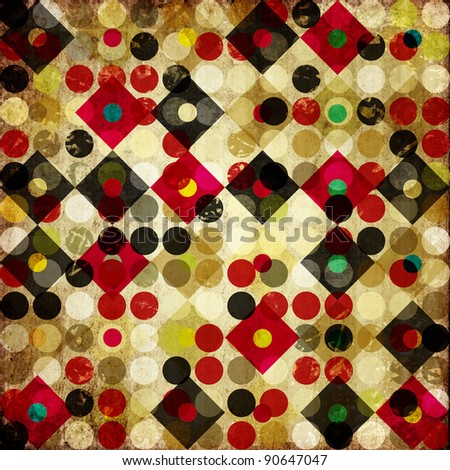grunge retro vintage paper background with colored square and circle pattern - stock photo
