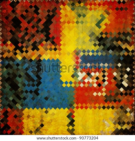 grunge retro vintage paper background with square pattern - stock photo