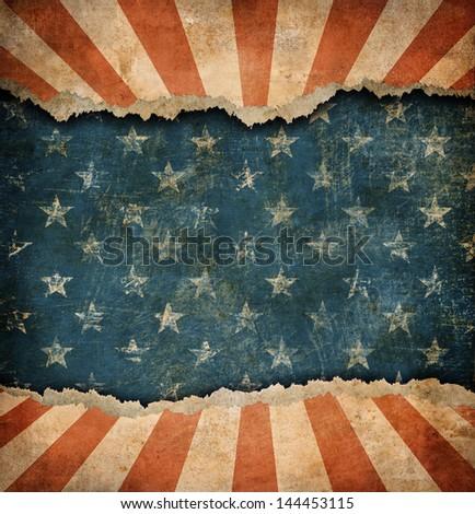 Grunge ripped paper USA flag pattern - stock photo