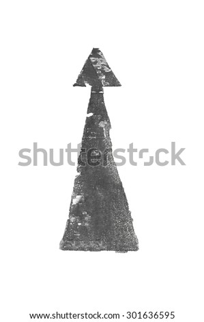Grunge road sign pointing arrow direction. With Easy Clipping Path. - stock photo