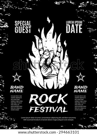 Grunge, rock festival poster, with rock n roll sign and fire. - stock photo
