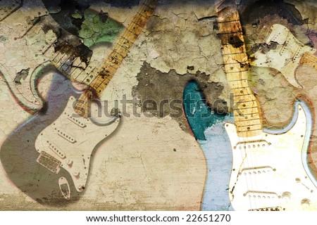 Grunge rock guitar background illustration. - stock photo
