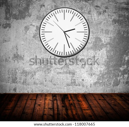 Grunge room with old clock on wall - stock photo