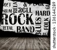 Grunge room with rock style text - stock