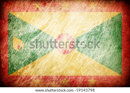 Grunge rubbed flag series of backgrounds. Grenada. - stock photo