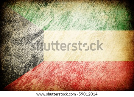 Grunge rubbed flag series of backgrounds. Kuwait. - stock photo