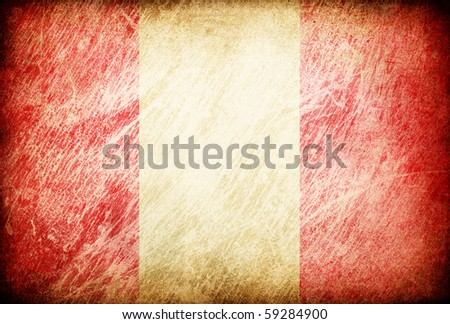 Grunge rubbed flag series of backgrounds. Peru. - stock photo