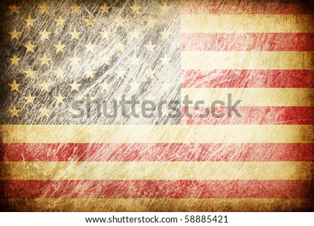 Grunge rubbed flag series of backgrounds. USA. - stock photo
