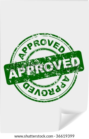 Grunge rubber office stamp with the word approved (jpg) - stock photo