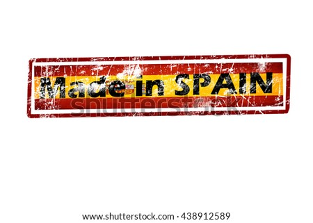 "Grunge rubber stamp or (stickers,tag, icon, sign, symbol, badge, label) with text "" MADE IN SPAIN "" present by light blue color for business, Office.flag.SPAIN flag. - stock photo"