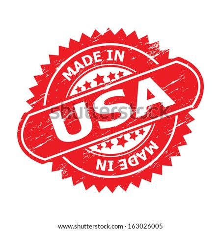 """Grunge rubber stamp or (stickers,tag, icon, sign, symbol, badge, label) with text """" MADE IN USA """" present by light blue color for business, office, internet or e-commerce.-jpg format - stock photo"""