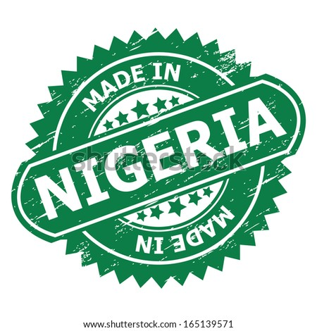 "Grunge rubber stamp  with text "" MADE IN NIGERIA "" present by green color for business or e-commerce."