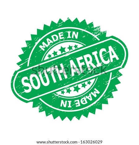 "Grunge rubber stamp  with text "" MADE IN SOUTH AFRICA "" present by green color for business or e-commerce."