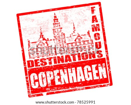 Grunge rubber stamp with the Frederiksborg castle shape and the word Copenhagen written inside - stock photo