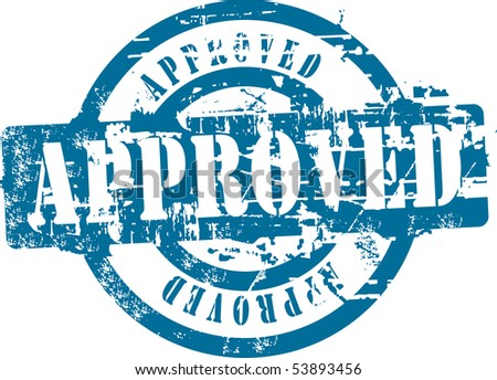Grunge rubber stamp with word approved. See other rubber stamps in my portfolio. - stock photo