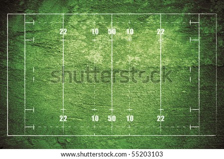Grunge rugby field with chalk drawn lines. - stock photo