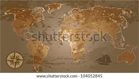 Grunge, rustic world map. Raster version of vector illustration. - stock photo
