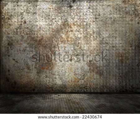 Grunge rusty interior, please check, more available - stock photo