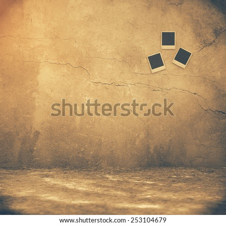 Grunge rusty interior with photos, , retro filtered, instagram style - stock photo
