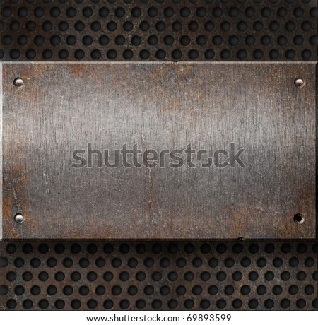 grunge rusty metal plate over grid background - stock photo