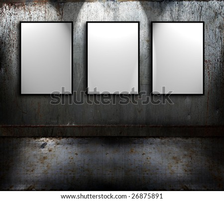 Grunge rusty metal room with empty signs - stock photo