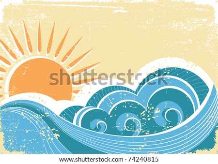 Grunge sea waves. Vintage  illustration of sea landscape.Raster - stock photo