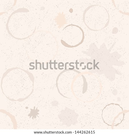 Grunge seamless pattern with coffee stains and blots - stock photo