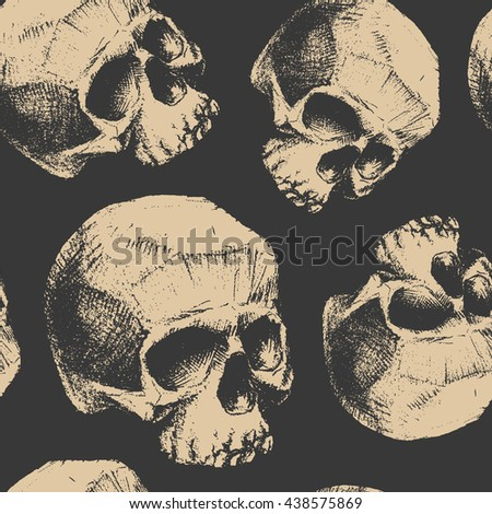 Grunge seamless pattern with skulls. Hand drawn. Jpeg version. - stock photo